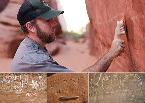 images of graffiti and a ranger using a brush to remove it