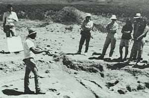 (photo) Archeologists at site of Hohokom pithouse.