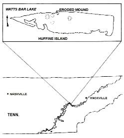 Figure 1. (Map)  Location of the Huffine Island Site in Eastern Tennessee.