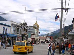 Broadway, looking north, in Skagway, Alaska. (NPS photo)
