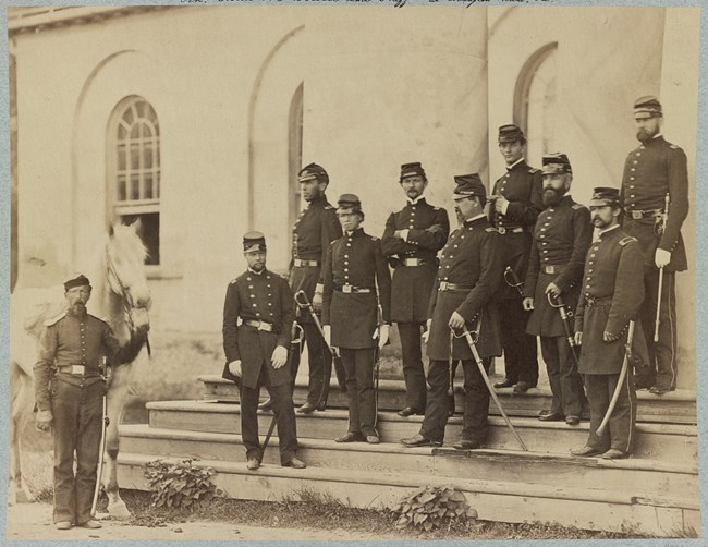 Union soldiers on the front steps of Arlington House.