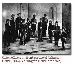 Union officers standing on the portico of Arlington House