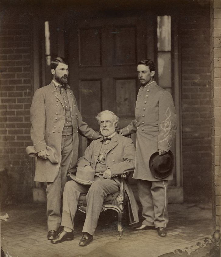 General Lee seated with his son G. W. Custis Lee and Walter Taylor