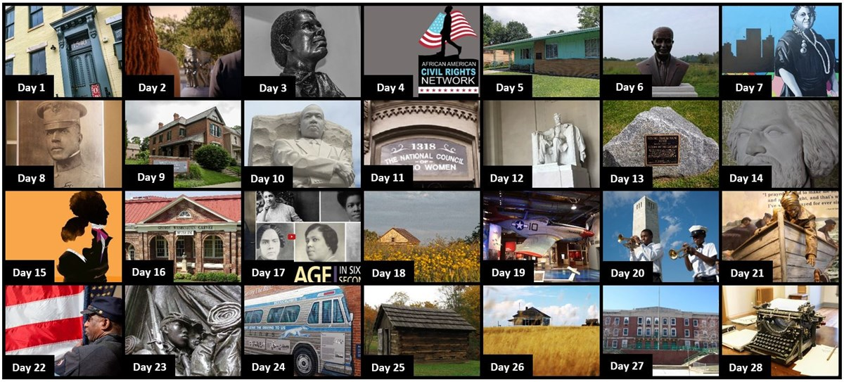 Collage of 28 days of squares featuring a person or place related to African American history, each square is explained on the webpage as the month progresses