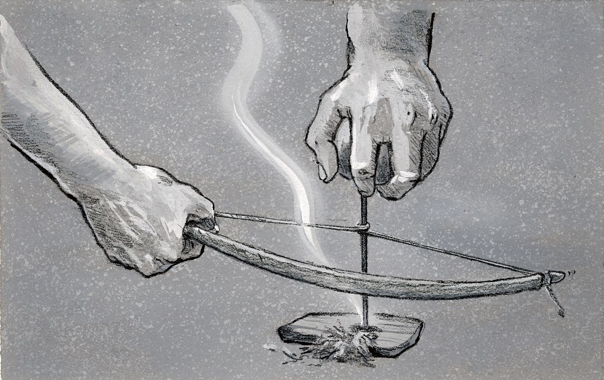 One hand holds a bow horizontally with its cord wrapped around a drill held upright over a small piece of wood with loose shavings.