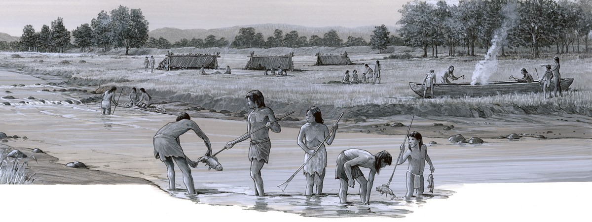 Panoramic scene of a grassland along a river with distant trees. Five people spear fish. Three collect mussels. Five carve a wooden canoe. Three distant tent-shaped log homes.