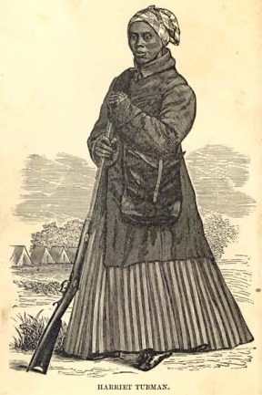 Engraving of Harriet Tubman as a scout during the Civil War