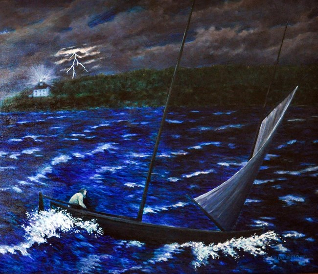 A painting of a man on a sailboat in rough waves with a lightning bolt in and white two story lighthouse tower shinning in the distance.
