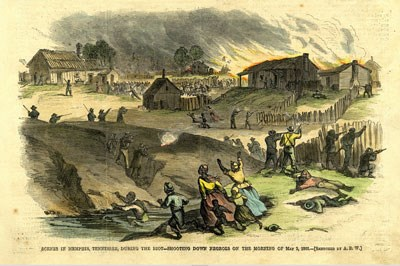 Colorized drawing of an 1866 newspaper depicting Black citizens running in fear