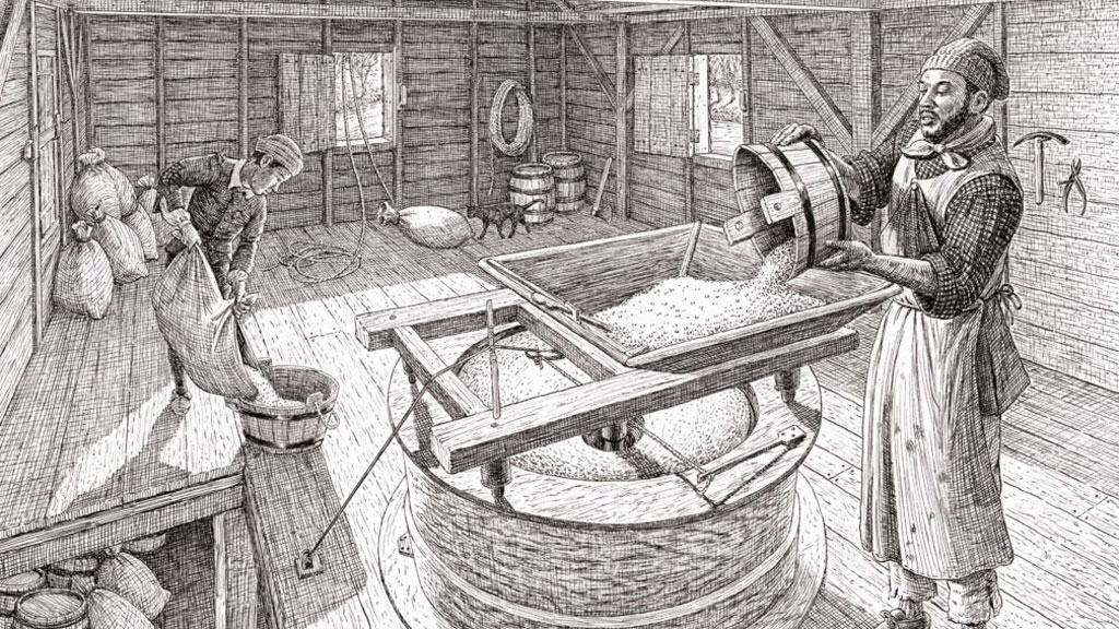 Black ink artistic sketch of man of African descent pouring grain into a milling apparatus inside a wooden clapboard room. A younger boy of African descent pours grain into a wooden tub in the background while a cat walks along the back wall.