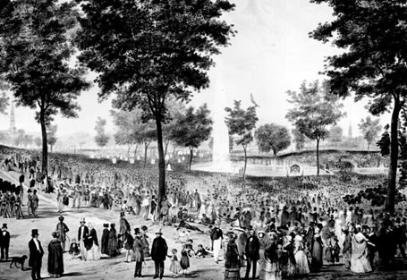 """View of the Water Celebration, on Boston Common, October 25th 1848."" As an early example of ""utilitarian"" conservation, regulations protected the land from overgrazing by restricting the number of cattle each family could graze on the Common."