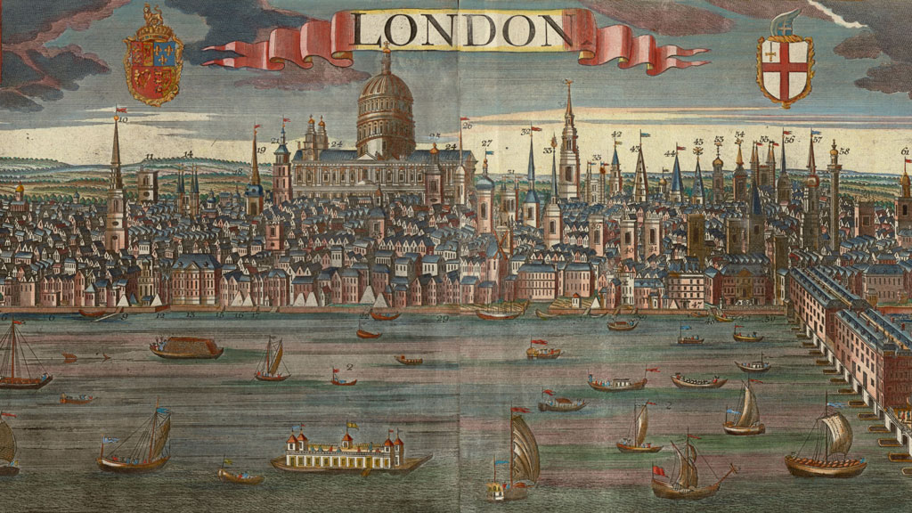 """Color print showing a busy river with smaller craft sailing. A bridge with buildings is on right. In background is a densely packed city with dozens of steeples pointing up into the sky. In the center is a large domed cathedral. In center top on a ribbon reads """"London""""."""