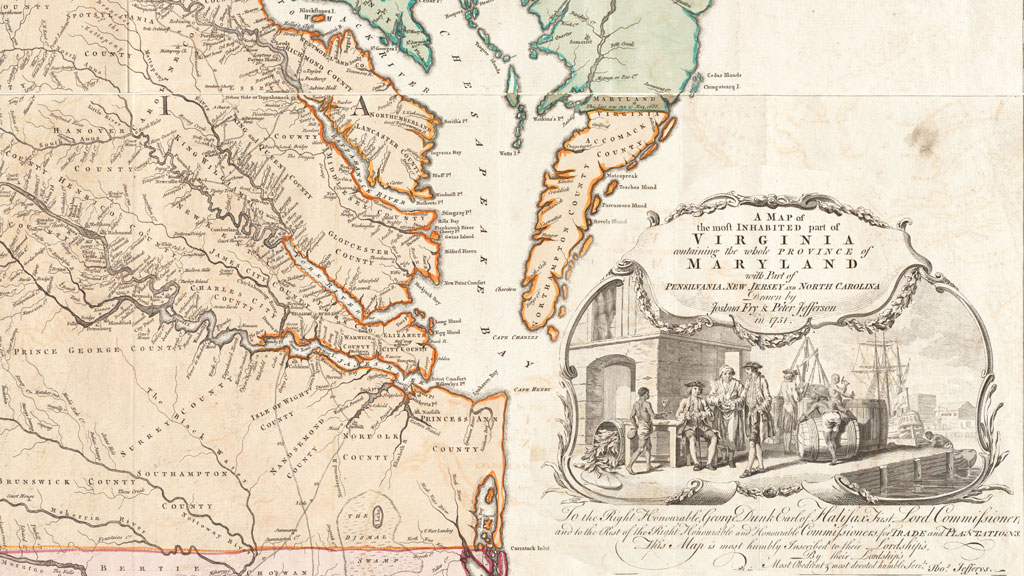 Map with an orange shaded coastline with multiple river inlets flowing from the Atlantic Ocean on right into the land of Virginia. In center a long peninsula creeps down dividing the Chesapeake Bay from much of the Atlantic. On the right over the ocean is a map label with map title and an illustration depicting a dockside scene with men of African descent depicted as shirtless and enslaved laborers while White men dressed as merchants stand or sit on chairs on the pier talking and drinking.