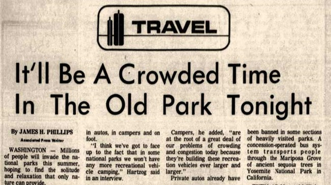 newspaper article titled It'll be a crowded time in the old park tonight