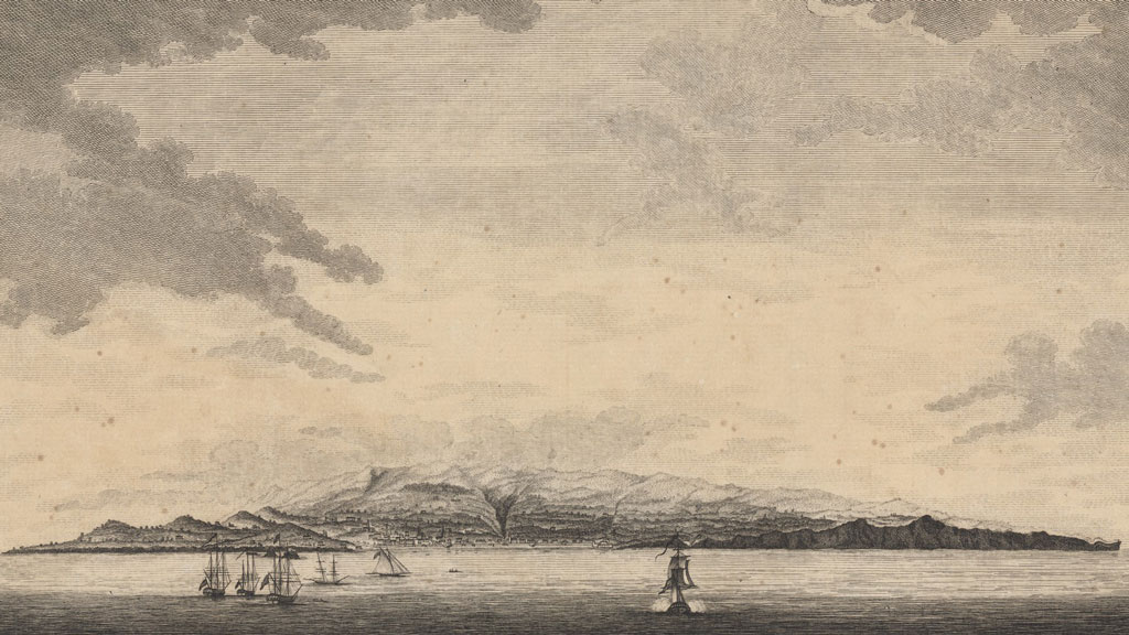Black and white print of a high sky with clouds. At bottom is the sea with multiple sailing vessels, sailing toward the central image of a mountainous island with a deep gorge down the center.