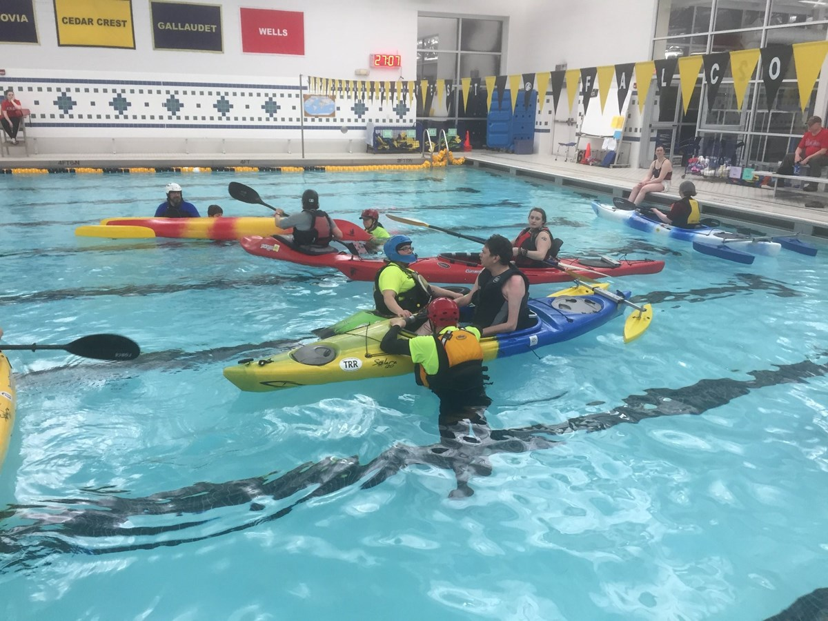 Team River Runner of the Lehigh Valley provides essential kayak training within a community pool setting. Photo Credit: TRR's Facebook page.