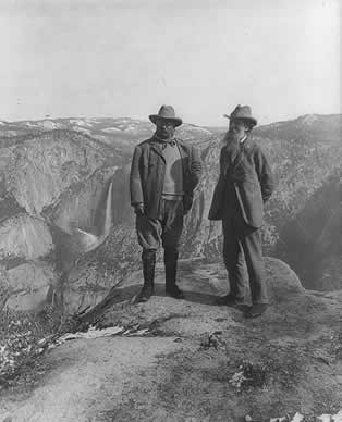 Theodore Roosevelt and John Muir on Glacier Point, Yosemite Valley, California.