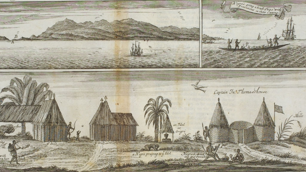 Image of black and white print with three vignettes. Top left show a mountainous shoreline with a sailing ship approaching. Top right depict presumably the same ship with African men in a canoe rowing toward it. The entire bottom panel shows a small village with huts and palm trees as villagers go about daily work or sit smoking.