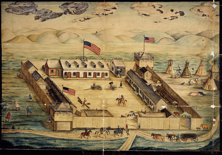 Watercolor painting of a fort with American flags, buildings, men, weapons, and horses.