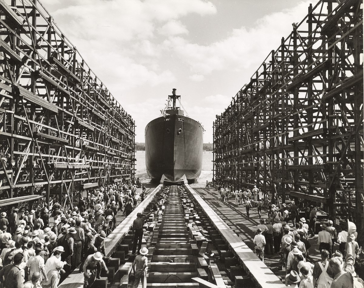 Ship launching at the Vancouver Kaiser Shipyards