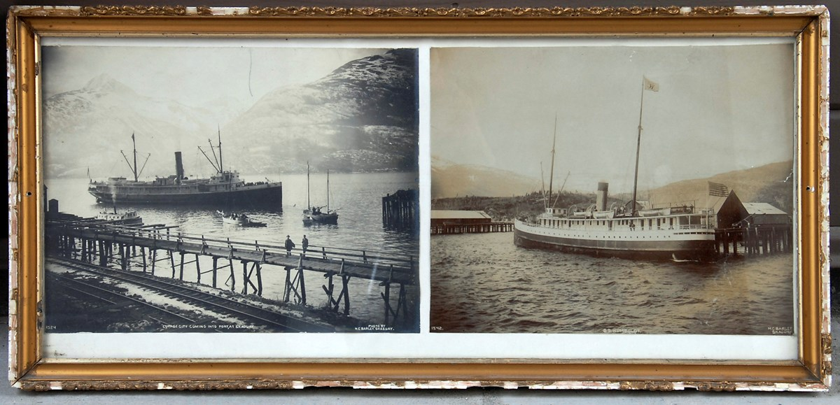 Two photos of two different Inside Passage steam ships docked in the Skagway harbor