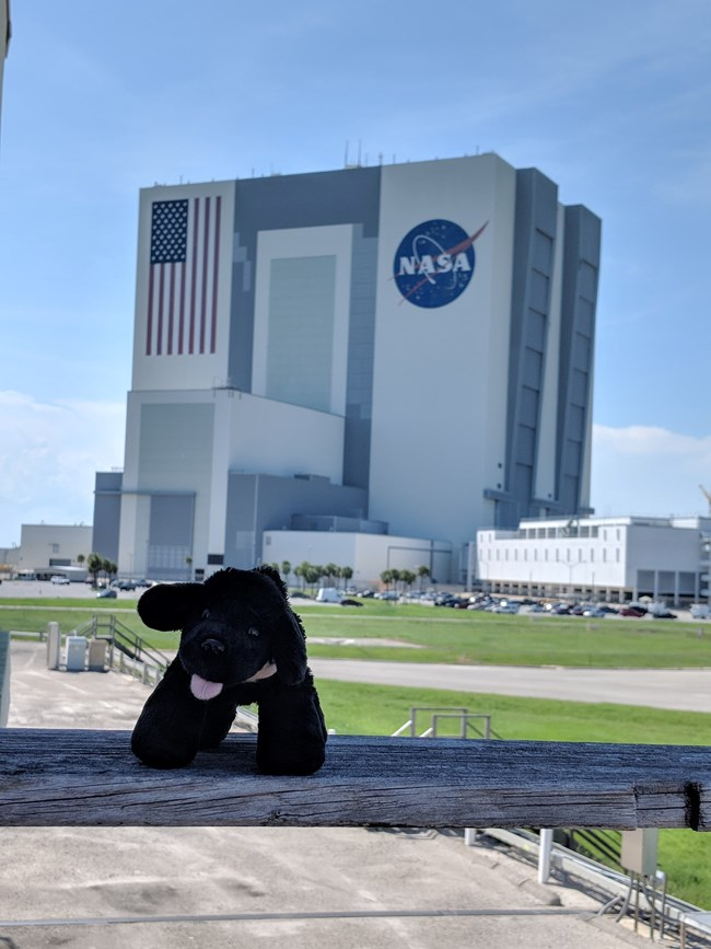 toy dog in front of Vehicle Assembly Building