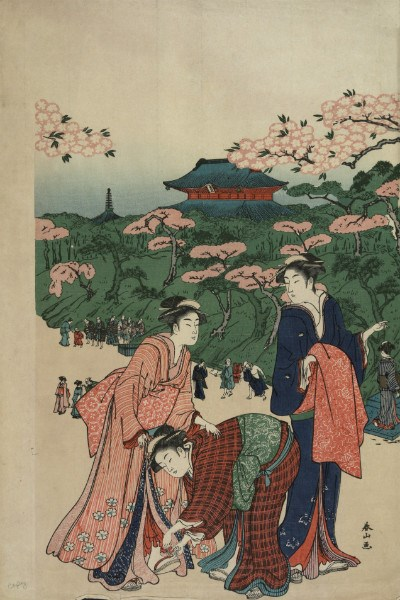 Historic Japanese image of people viewing the cherry blossoms