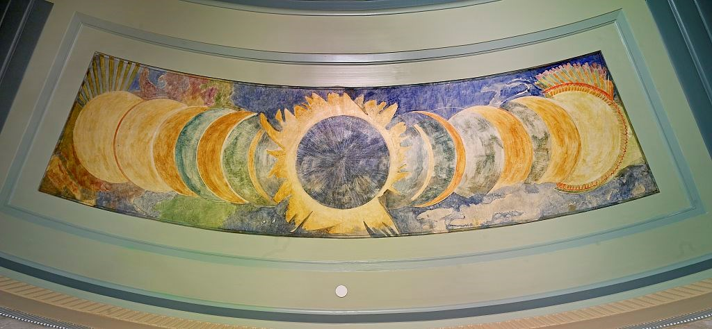 Painting of a solar eclipse showing the phases.