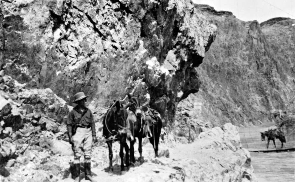 Person in a wide brimmed hat and baggy clothes leads a pair of burros down a rocky trail. In the distance, a third burro crosses a bridge.