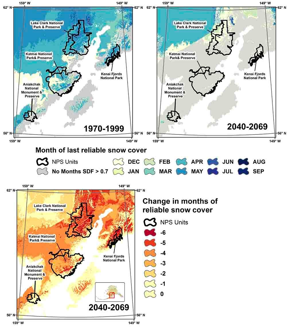 A series of three maps of southwest Alaska showing the transition in timing and duration of snowpack.