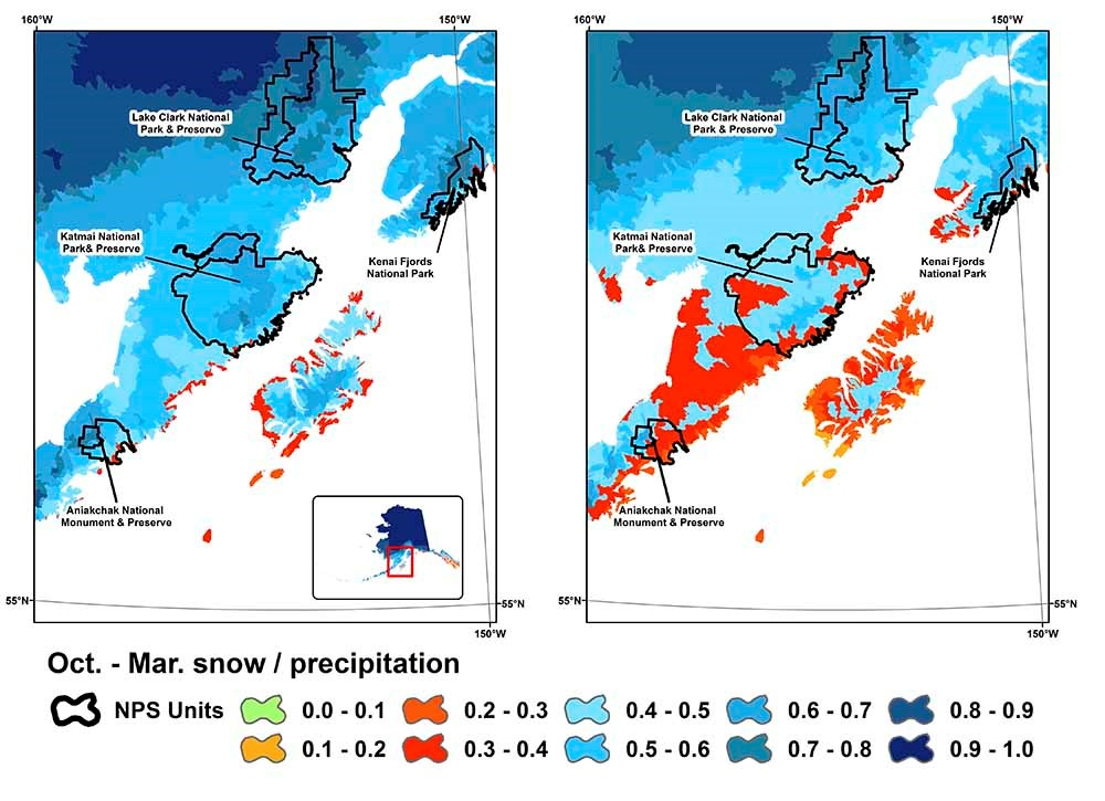 Map of southwest Alaska and change in snow fall.