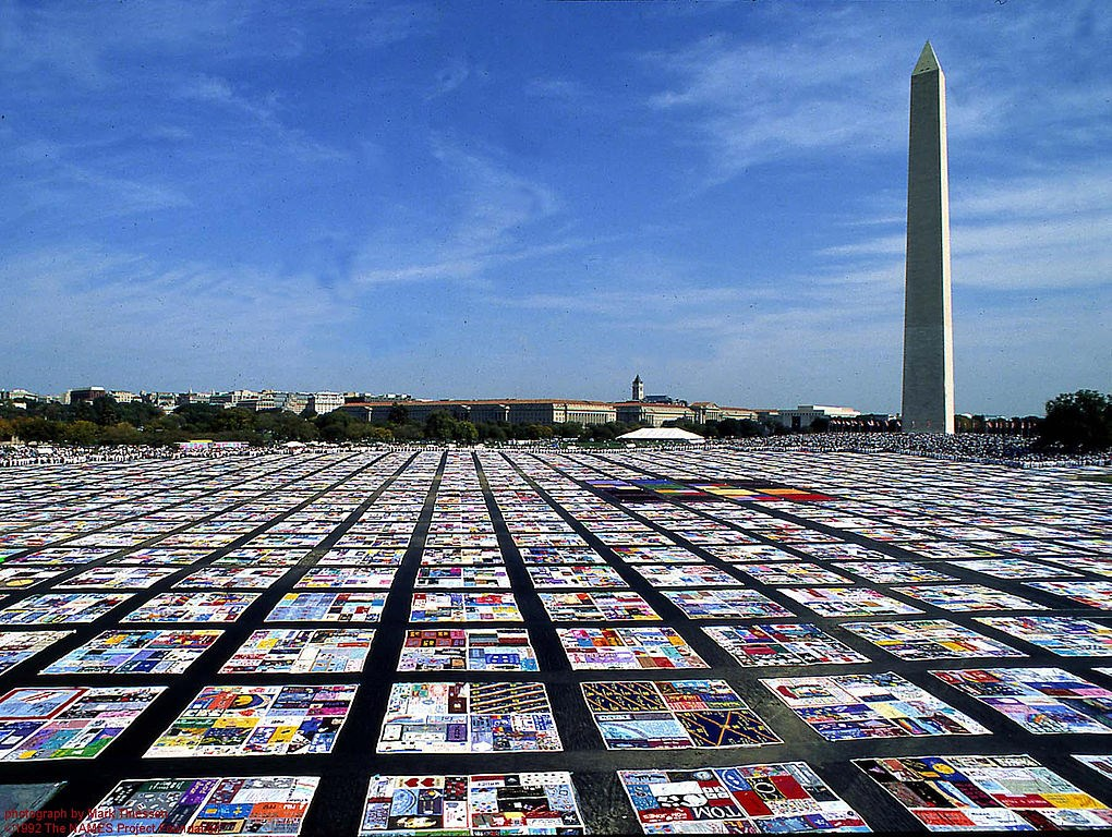 Quilt squares fill the National Mall