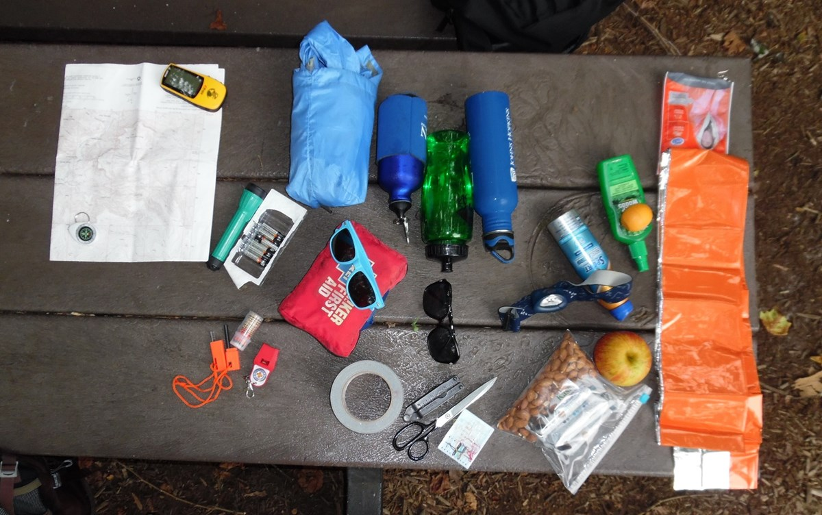 Photo of the Ten Essentials on a table
