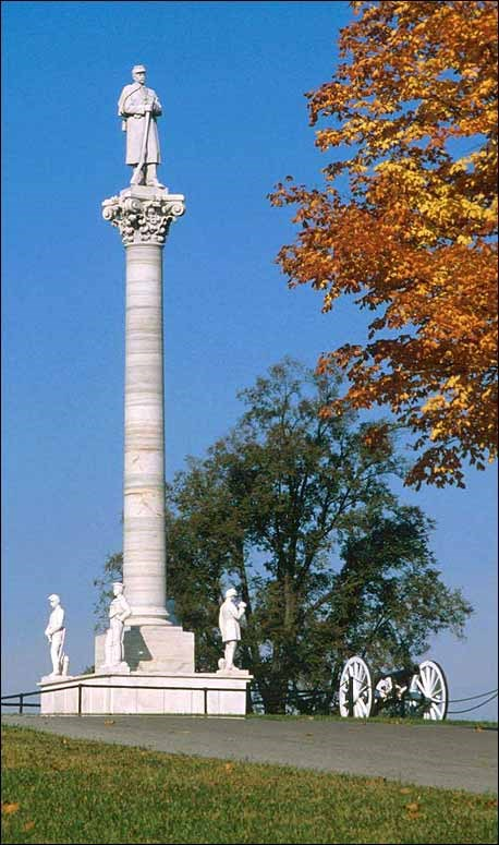 Dayton Soldiers Memorial with soldier statue surrounded by headstones. (Courtesy of Dayton Veterans Affairs Archive)