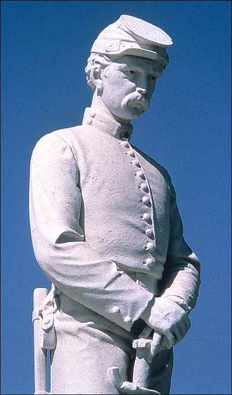 Close-up of soldier statue in Dayton National Cemetery. (Courtesy of Dayton Veterans Affairs Archive)