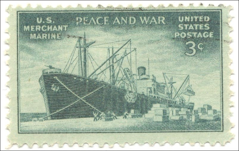 Old stamp of a Liberty Ship.