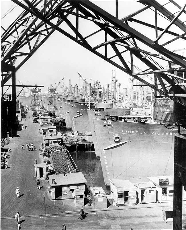 Liberty Ship in harbor.