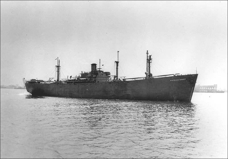 Liberty Ship on the ocean.