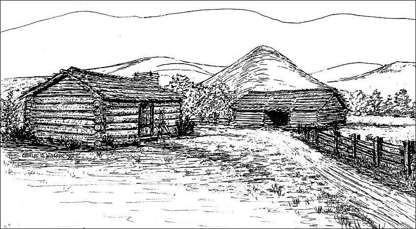 Drawing of a log cabin.
