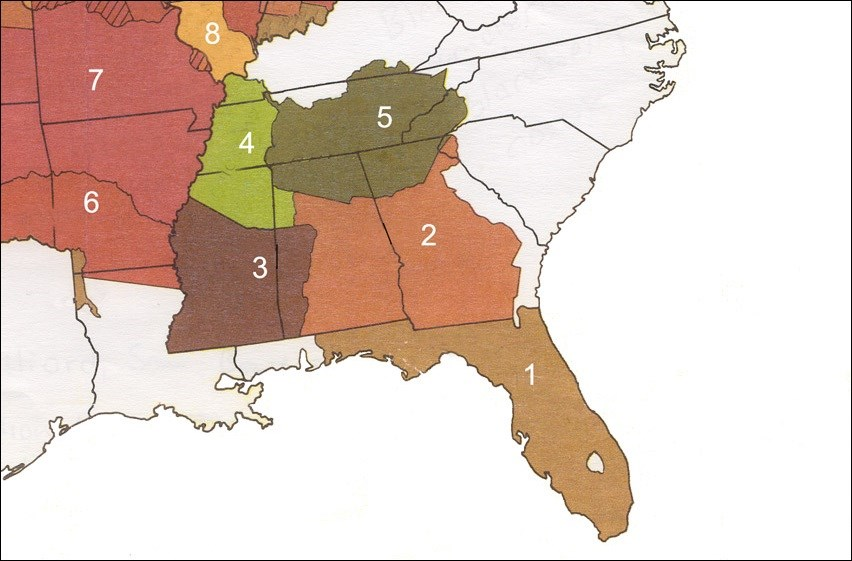 Land occupied by Southeastern Tribes, 1820s.