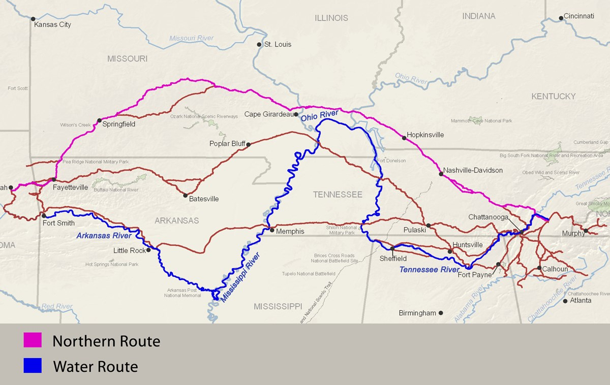 Cherokee Removal Routes.