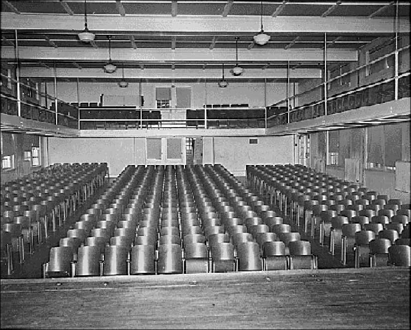Auditorium with rows of chairs at Farmville High School, Farmville, Virginia. National Archives and Records Administration, Mid Atlantic Region
