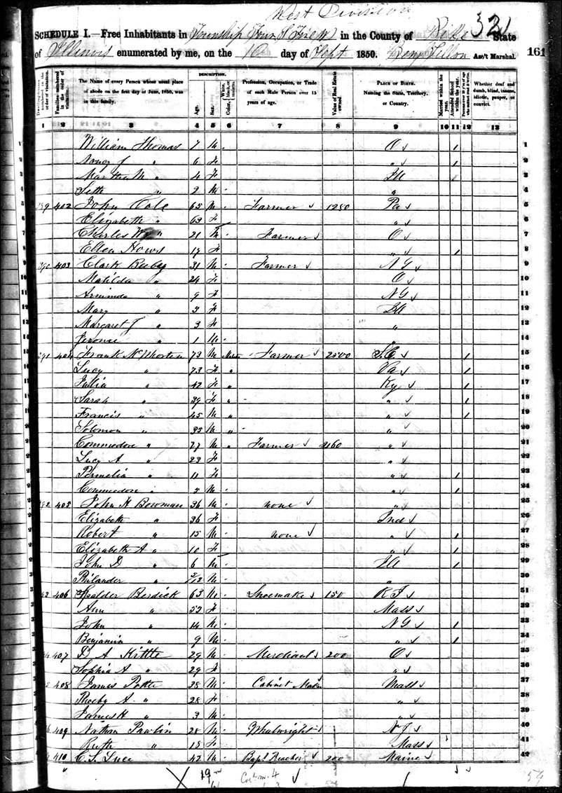 Page from 1850 Population Census Schedule for Hadley Township, Pike County, Illinois with name and ages.