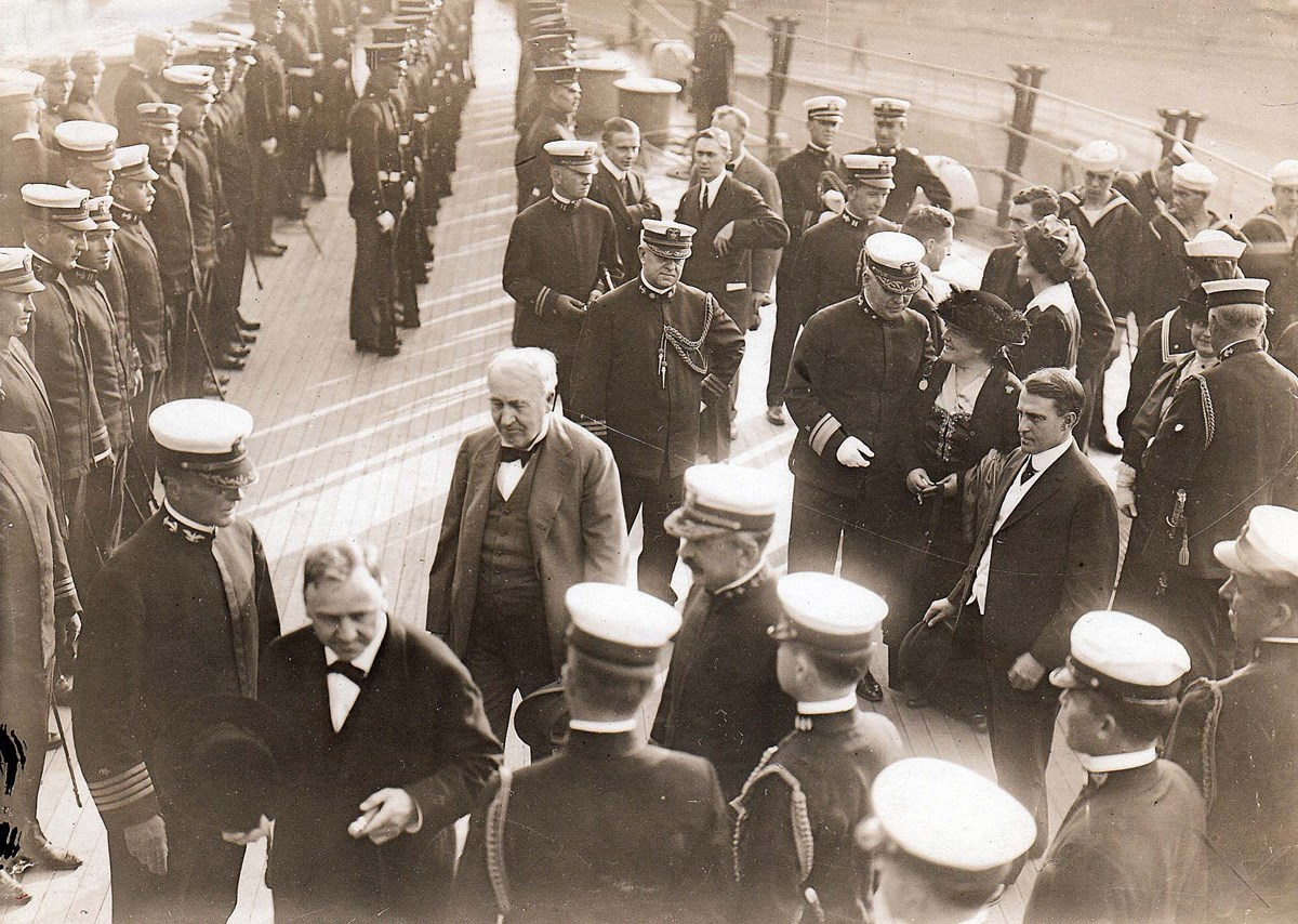 Edison with Navy Secretary Josephus Daniels aboard the battleship U.S.S. New York at the Brooklyn Navy Yard, October 12, 1914.