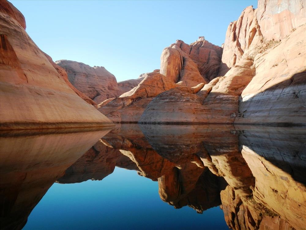 reflection of canyon in water