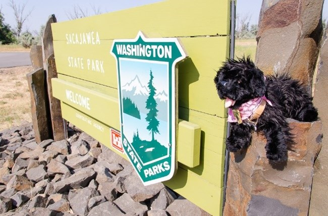toy dog near Sacajawea State Park sign