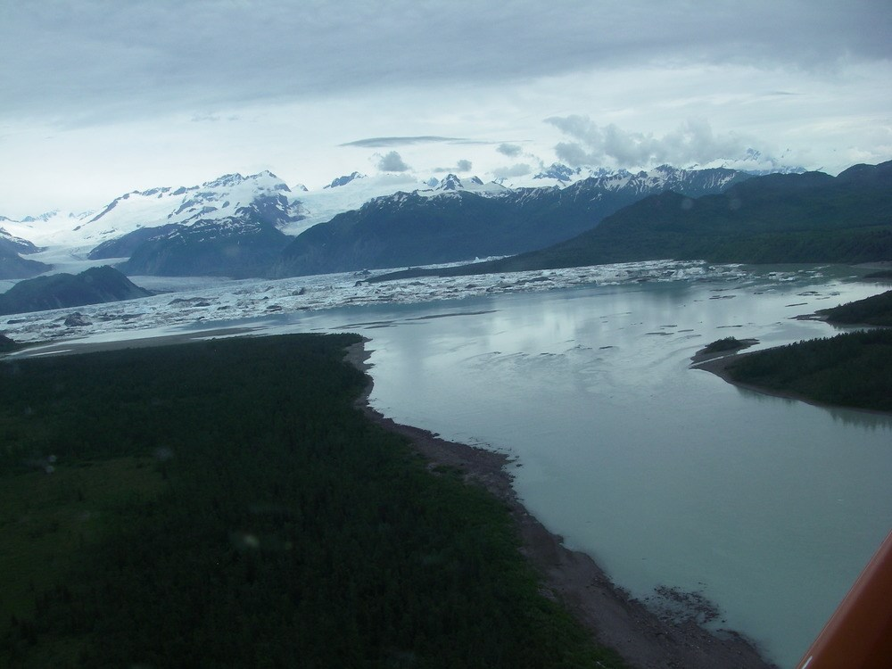 stream with glacier in background