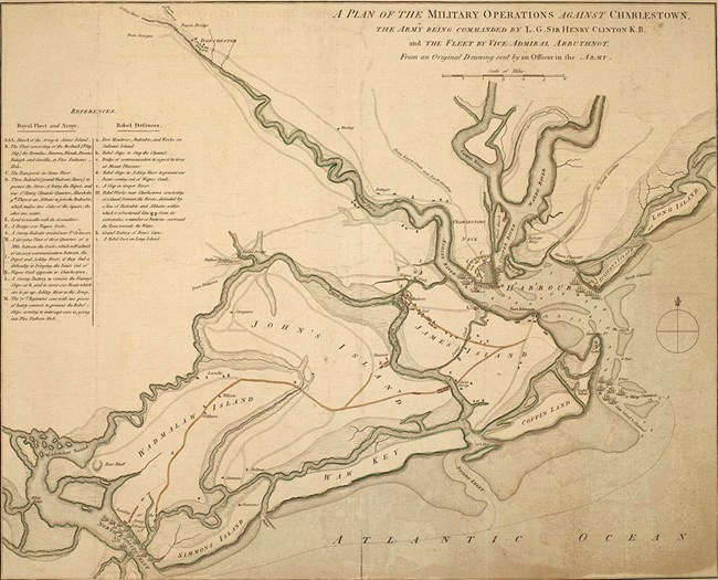 Map of the British plan of attack on Charleston, showing American defenses and British ships and forces