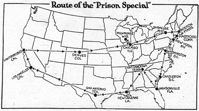Map of the United States depicting the train route of the Prison Special tour.