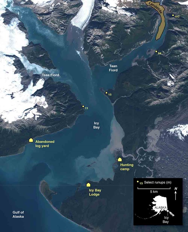 Imagery showiing Icy Bay and the landslide in Taan Fiord
